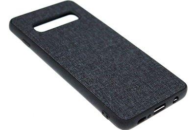 ADEL Siliconen Back Cover Hoesje voor Samsung Galaxy S10 - Stoffen Design Zwart