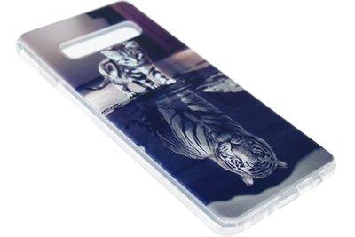 ADEL Siliconen Back Cover Hoesje voor Samsung Galaxy S10 - Poezen Schaduw Tijger