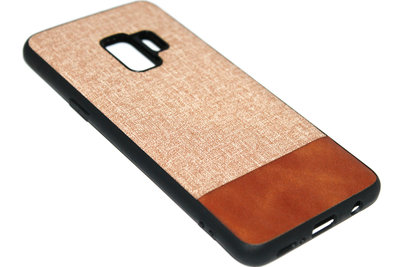 ADEL Siliconen Back Cover Hoesje voor Samsung Galaxy S9 - Stoffen Design Bruin