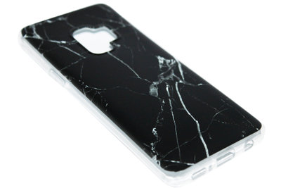 ADEL Siliconen Back Cover Hoesje voor Samsung Galaxy S9 Plus - Marmer Zwart