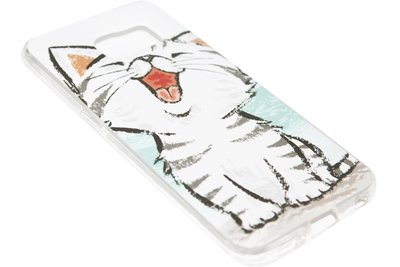 ADEL Siliconen Back Cover Softcase Hoesje Samsung Galaxy S6 Edge - Schattige Kat