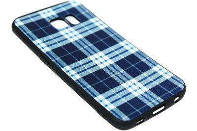 ADEL Siliconen Back Cover Softcase Hoesje Samsung Galaxy S6 Edge - Stoffen Design Blauw