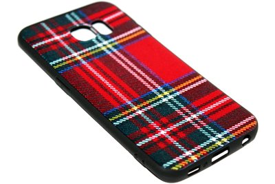 ADEL Siliconen Back Cover Softcase Hoesje Samsung Galaxy S6 Edge - Stoffen Design Rood