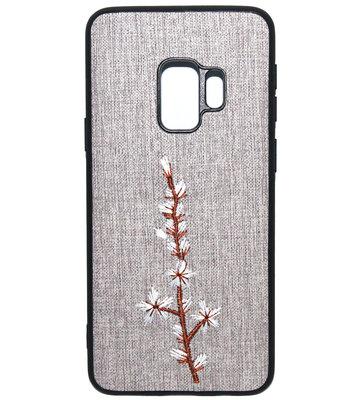 ADEL Textiel Stof Back Cover Softcase Hoesje voor Samsung Galaxy S9 - Geborduurde Bloem