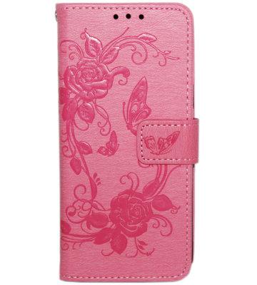 ADEL Kunstleren Book Case Hoesje voor Samsung Galaxy S9 - Vlinders en Bloemen Rood
