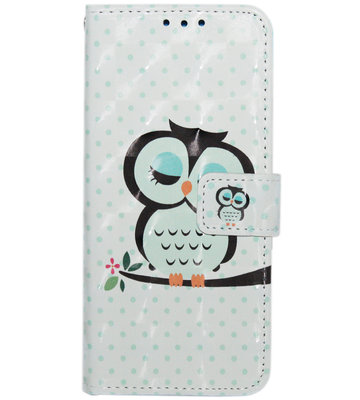 ADEL Kunstleren Book Case Hoesje voor Samsung Galaxy S9 - Blauwe Uil