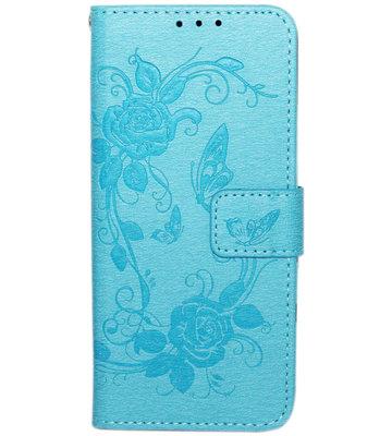 ADEL Kunstleren Book Case Hoesje voor Samsung Galaxy S9 Plus - Vlinders en Bloemen Blauw