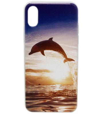 ADEL Siliconen Back Cover Hoesje voor iPhone XS/X - Dolfijn