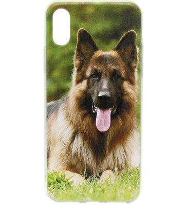 ADEL Siliconen Back Cover Hoesje voor iPhone XS/X - Duitse Herder Hond