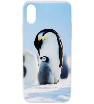 ADEL Siliconen Back Cover Hoesje voor iPhone XS/X - Pinguin