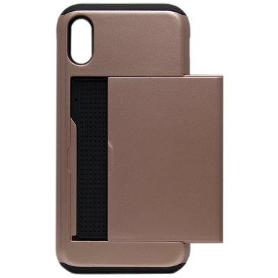 ADEL Kunststof Back Cover Hoesje voor iPhone XS/X - Pasjeshouder Bruin