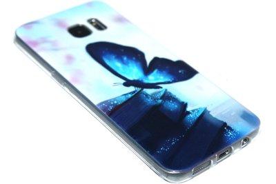 Blauw vlinder hoesje siliconen Samsung Galaxy S7 Edge