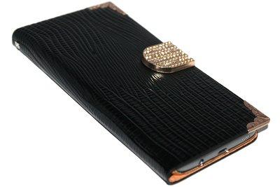 Bling bling hoesje kunstleer zwart Samsung Galaxy S7 Edge