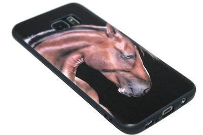 Bruin paarden siliconen hoesje Samsung Galaxy S7 Edge