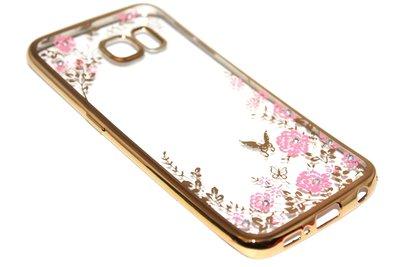 Glimmend bloemen hoesje goud Samsung Galaxy S6 Edge