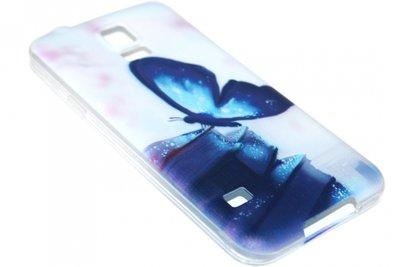 Blauw vlinder hoesje siliconen Samsung Galaxy S5 (Plus) / Neo
