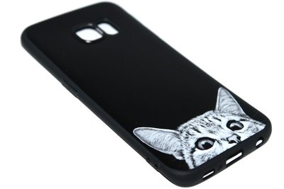 Katten hoesje siliconen zwart Samsung Galaxy S6 Edge