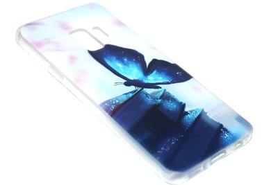 Blauw vlinder hoesje siliconen Samsung Galaxy S9 Plus