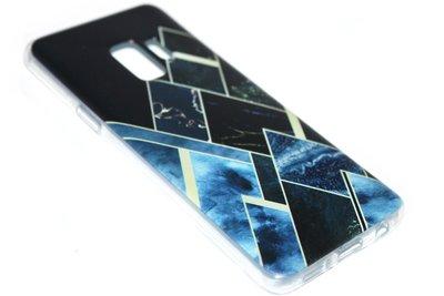 Geometrische vormen hoesje zwart siliconen Samsung Galaxy S9 Plus