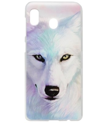 ADEL Kunststof Back Cover Hardcase Hoesje voor Samsung Galaxy A20/ A30 - Wolf Lichtblauw