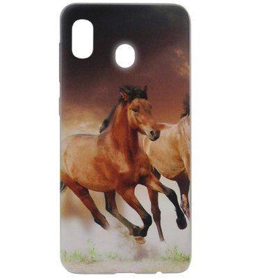 ADEL Siliconen Back Cover Softcase Hoesje voor Samsung Galaxy A20/ A30 - Paarden Bruin