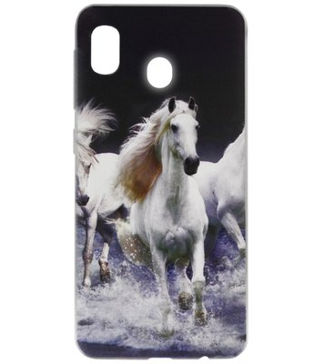 ADEL Siliconen Back Cover Softcase Hoesje voor Samsung Galaxy A20/ A30 - Paarden Wit