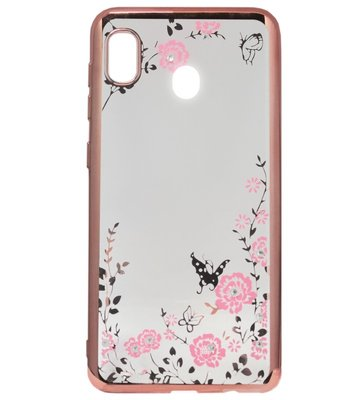ADEL Siliconen Back Cover Softcase Hoesje voor Samsung Galaxy A20/ A30 - Bling Bling Roze Vlinders en Bloemen