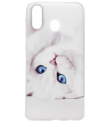 ADEL Siliconen Back Cover Softcase Hoesje voor Samsung Galaxy A40 - Katten Wit