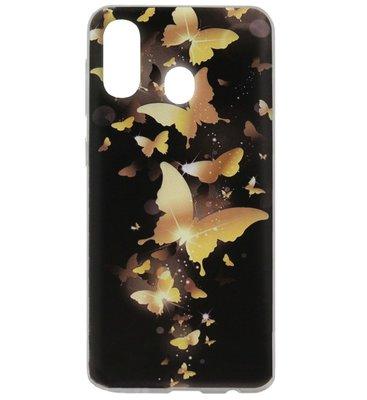 ADEL Siliconen Back Cover Softcase Hoesje voor Samsung Galaxy A40 - Vlinder Goud