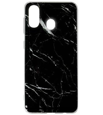 ADEL Siliconen Back Cover Softcase Hoesje voor Samsung Galaxy A40 - Marmer Zwart