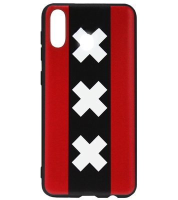 ADEL Siliconen Back Cover Softcase Hoesje voor Samsung Galaxy A40 - Andreaskruisen Amsterdam