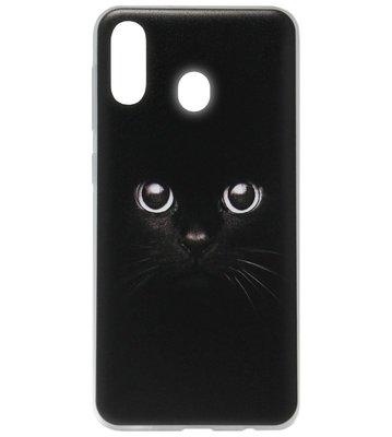 ADEL Siliconen Back Cover Softcase Hoesje voor Samsung Galaxy A40 - Kat Zwart