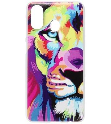 ADEL Kunststof Back Cover Hardcase Hoesje voor Samsung Galaxy A40 - Leeuw Kleur