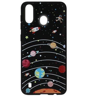 ADEL Siliconen Back Cover Softcase Hoesje voor Samsung Galaxy A40 - Heelal Ruimte