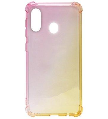 ADEL Siliconen Back Cover Softcase Hoesje voor Samsung Galaxy A40 - Kleurovergang Roze en Geel