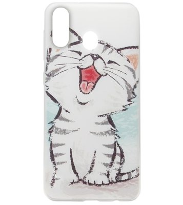 ADEL Siliconen Back Cover Softcase Hoesje voor Samsung Galaxy A40 - Lieve Kat