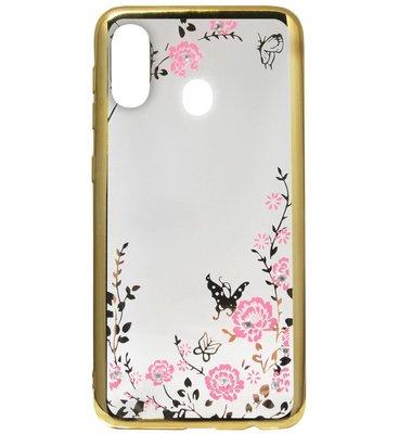 ADEL Siliconen Back Cover Softcase Hoesje voor Samsung Galaxy A40 - Bling Bling Goud Vlinders en Bloemen