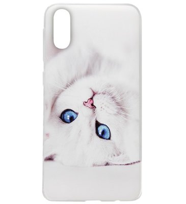 ADEL Siliconen Back Cover Softcase Hoesje voor Samsung Galaxy A70(s) - Katten Wit