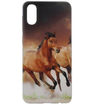 ADEL Siliconen Back Cover Softcase Hoesje voor Samsung Galaxy A70(s) - Paarden Bruin