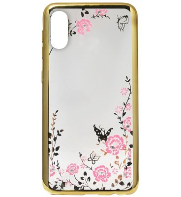 ADEL Siliconen Back Cover Softcase Hoesje voor Samsung Galaxy A70(s) - Bling Bling Goud Vlinders en Bloemen