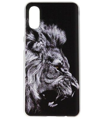 ADEL Kunststof Back Cover Hardcase Hoesje voor Samsung Galaxy A70(s) - Leeuw Zwart