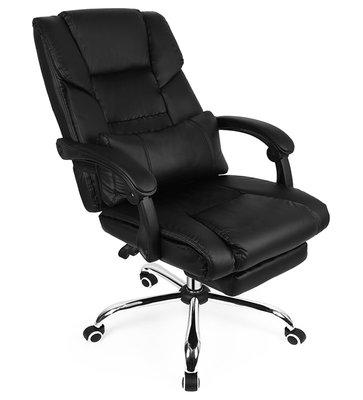 Luxe Bureaustoel met Voetensteun - Kunstleer en Foam - Stevig Comfortabel Verstelbaar - Middagdutje Kantoor Studeren Gamen - Zwart