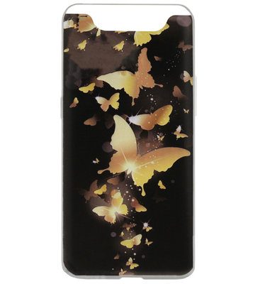 ADEL Siliconen Back Cover Softcase Hoesje voor Samsung Galaxy A80/ A90 - Vlinder Goud