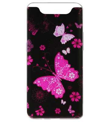 ADEL Siliconen Back Cover Softcase Hoesje voor Samsung Galaxy A80/ A90 - Vlinder Roze