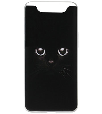 ADEL Siliconen Back Cover Softcase Hoesje voor Samsung Galaxy A80/ A90 - Kat Zwart