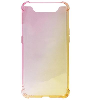 ADEL Siliconen Back Cover Softcase Hoesje voor Samsung Galaxy A80/ A90 - Kleurovergang Roze en Geel