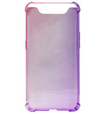ADEL Siliconen Back Cover Softcase Hoesje voor Samsung Galaxy A80/ A90 - Kleurovergang Roze en Paars
