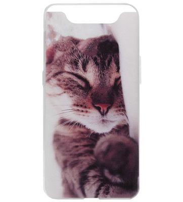 ADEL Siliconen Back Cover Softcase Hoesje voor Samsung Galaxy A80/ A90 - Katten Schattig