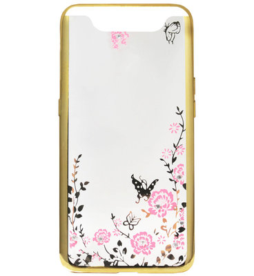 ADEL Siliconen Back Cover Softcase Hoesje voor Samsung Galaxy A80/ A90 - Bling Bling Goud Vlinders en Bloemen