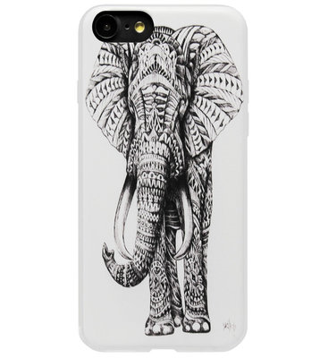 ADEL Siliconen Back Cover Softcase Hoesje voor iPhone 8/ 7 - Olifant Wit